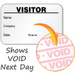 Visitor Badge with Company, Shows Void Next Day