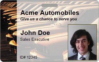 Automotive ID Card Sample